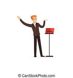 Orchestra conductor directing musical performance