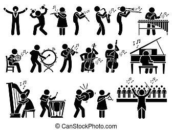Orchestra Musical Instruments - Vector set stick figure man...