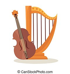 Orchestral harp and violoncello isolated on white background.