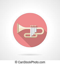 Orchestral trumpet color flat round vector icon