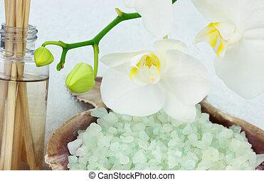 orchidée, à, huiles essentielles, et, sels bain