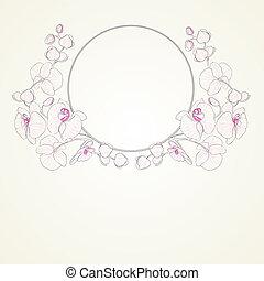 orchidée, bouclé, frame.