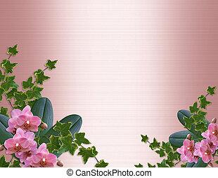 orchidées, et, lierre, frontière, satin rose