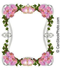 orchidées, et, lierre, invitation mariage, frontière
