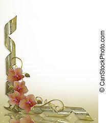 orchidées, floral, invitation mariage, frontière