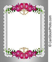 orchidées, invitation mariage, élégant