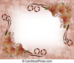 orchidées, mariage, frontière florale
