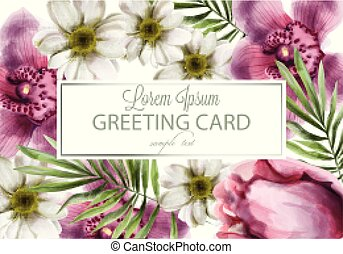 Orchid and daisy flowers card Vector watercolor. Spring summer beautiful greeting or wedding invitations