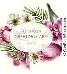 Orchid and daisy flowers round card Vector watercolor. Spring summer beautiful greeting or wedding invitations
