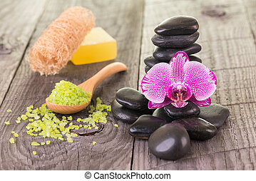 Orchid, bath salt and stones