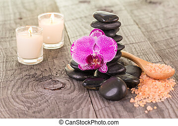 Orchid, bath salt and zen stones