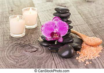 Orchid, bath salt and zen stones