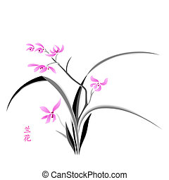 Orchid blossom - Orchid painting in japanese watercolor...