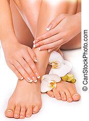 orchid., branca, isolado, manicure, pedicure