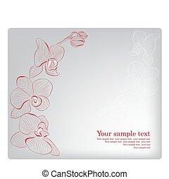orchid., card., matczyny, powitanie, wektor, dzień