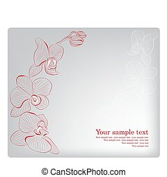 orchid., card., mutter, gruß, vektor, tag