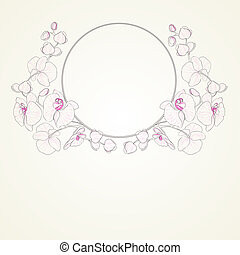 Orchid curly frame. illustration.