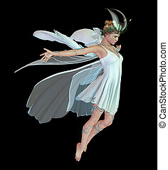 Orchid Fae CA - a graceful fairy with wings and wreath