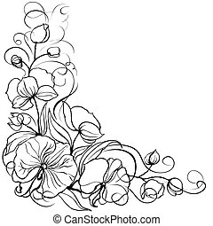 Orchid flower isolated over white. Vector illustration.