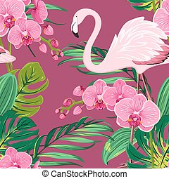 Orchid flower flamingo tropical leaves pattern