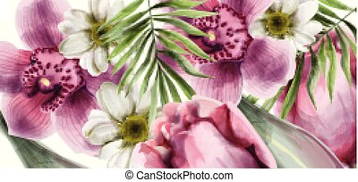 Orchid flowers background card Vector watercolor. Spring summer beautiful greeting or wedding invitations