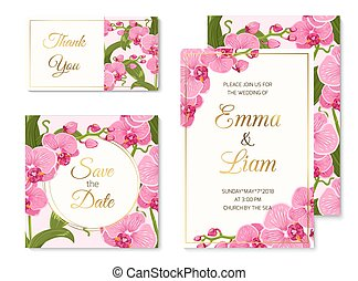 Orchid phalaenopsis wedding cards template set