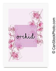 Orchid vector illustration hand drawn painted watercolor