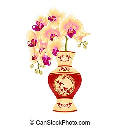 Orchid yellow phalenopsis in a vase of porcelain  vector.eps