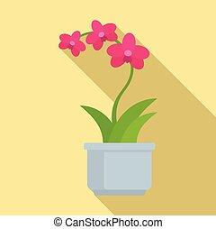 orchidea, rosa, appartamento, stile, icona