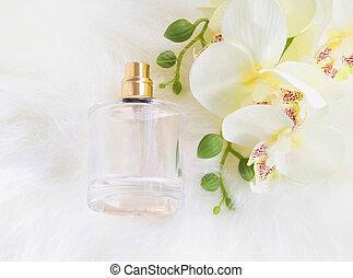 orchidee, bloem, met, parfumeer fles