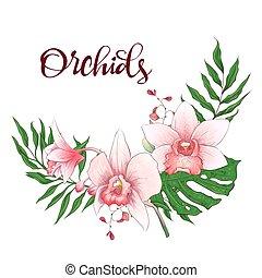 orchidee, frame., eucalyptus, ontwerp, trouwfeest, floral, greenery., card.