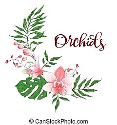 orchidee, frame., eucalyptus, ontwerp, trouwfeest, floral, greenery., card.