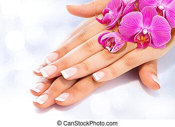 orchidee, manicure, francuski