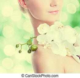 orchidee, vrouw, mooi, bloem