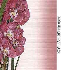 orchideen, blumen-, einladung, umrandungen