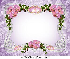 orchideen, und, efeu, hochzeitskarten, umrandungen
