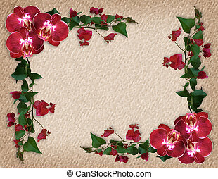 Orchids and Bougainvillea on crackle background for wedding invitation border, floral template with copy space