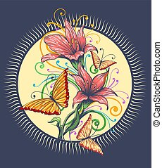Orchids and butterflies handdrawn illustration