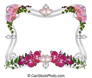 orchids, en, klimop, huwelijk uitnodiging, grens