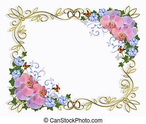 orchids, grens, huwelijk uitnodiging