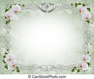 Orchids ivy Wedding invitation Border