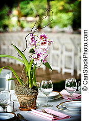 Orchids on a wedding table