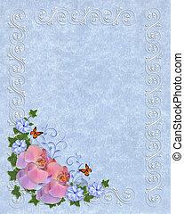 Orchids on blue parchment template