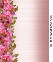 orchids, uitnodiging, grens, trouwfeest