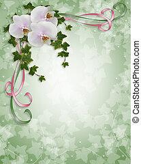 orchids, uitnodiging, klimop, trouwfeest