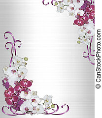 Image and illustration composition, pink orchids on white satin for wedding or party invitation background with copy space