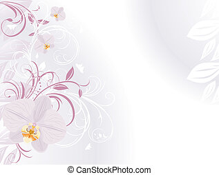 Orchids with decorative sprigs. Background for card. Vector...
