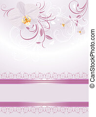 Orchids with sprigs. Festive card