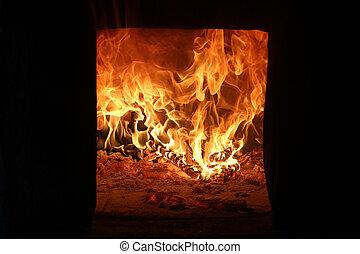ordítozó, elbocsát, égető, fényesen, alatt, fireplace., hő, alatt, tél, time.