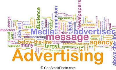 ord, annonsering, moln
